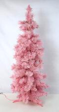 """Vtg Retro Pink Light Up Artificial Christmas Tree Retro Holiday Lights Decor 41"""""""