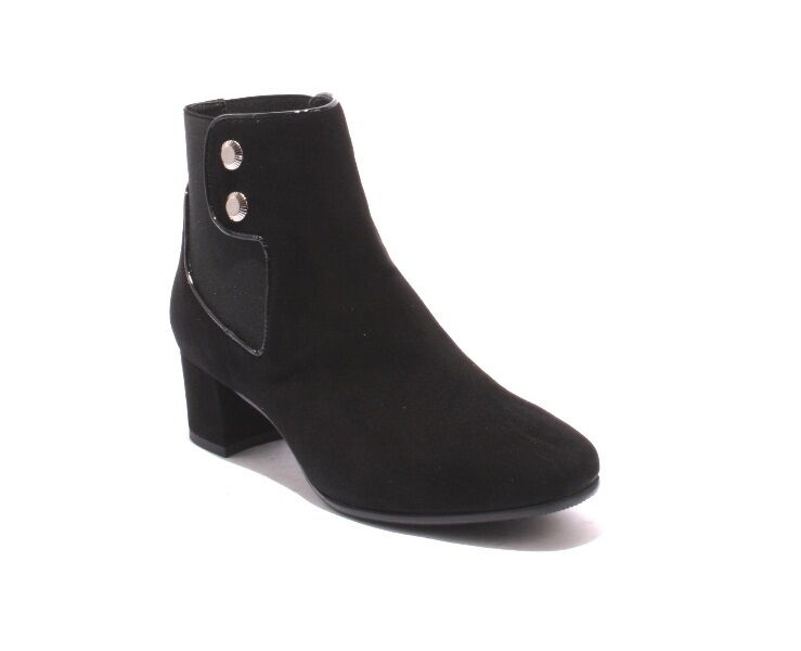 MOT-CLe 6631 Black Suede / Elastic Ankle Pull On Heel Boots 38 / US 8
