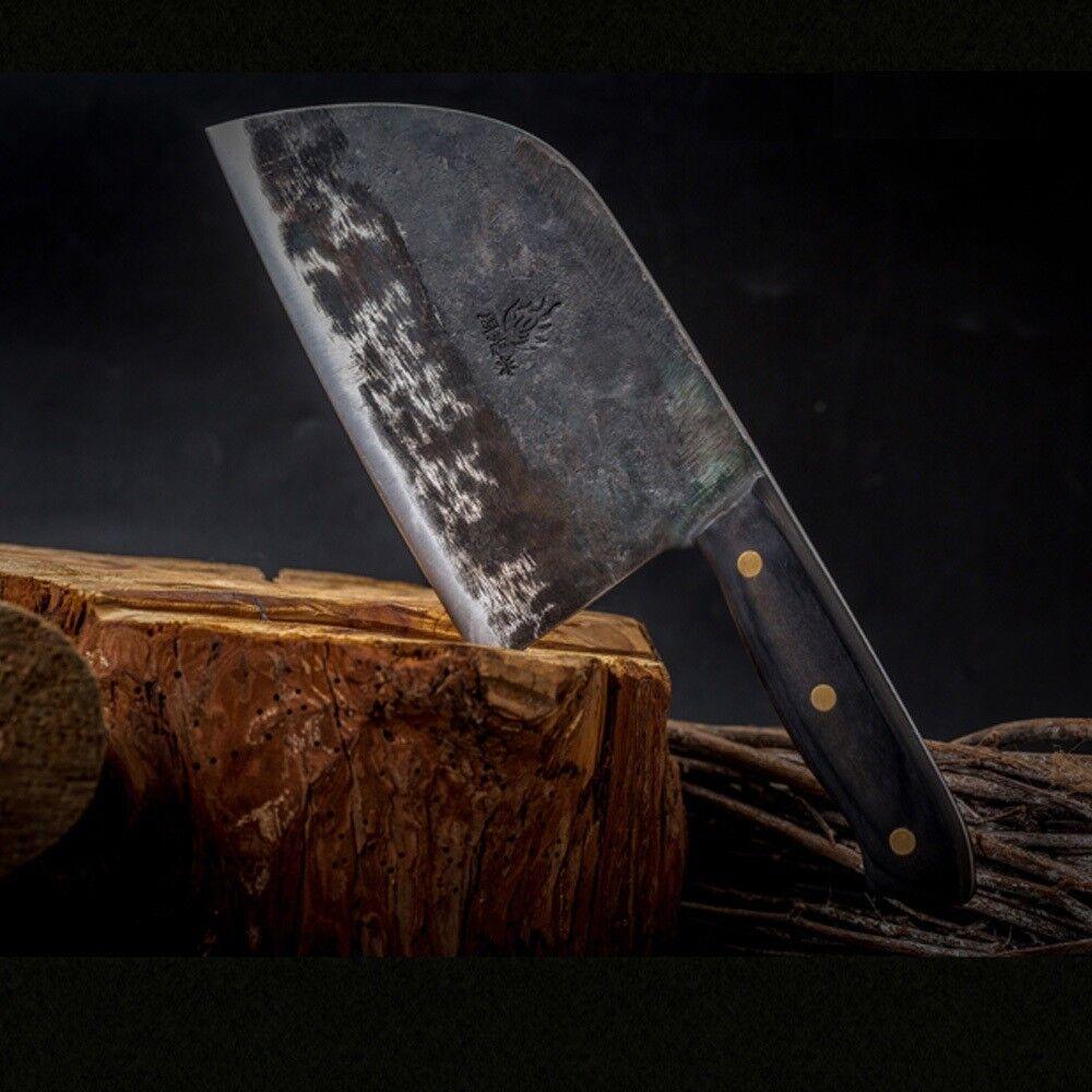 Fait à la main en acier forgé Couteau Boucher trancher hacher cuisine Cleaver bois poignée XL