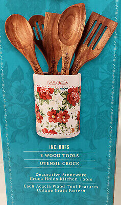 """Pioneer Woman Stoneware Vintage Floral Utensil Crock Canister 7/"""" Red White Blue"""