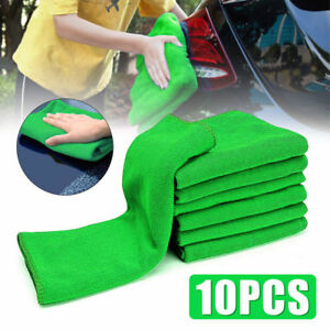 10Pcs Green Micro Fiber Auto Car Detailing Cleaning Soft Cloth Towel Duster Wash