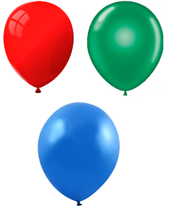 Bright Green /& Mid Blue Multipack Red 25cm Party // Birthday Balloons