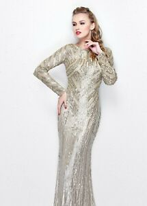 Image Is Loading Primavera Gold Balmain Style Dress Sequins Long