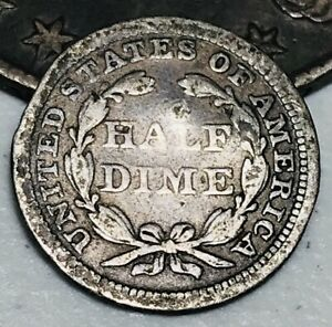 1858-Seated-Liberty-Half-Dime-5C-Ungraded-Better-Date-90-Silver-US-Coin-CC2985