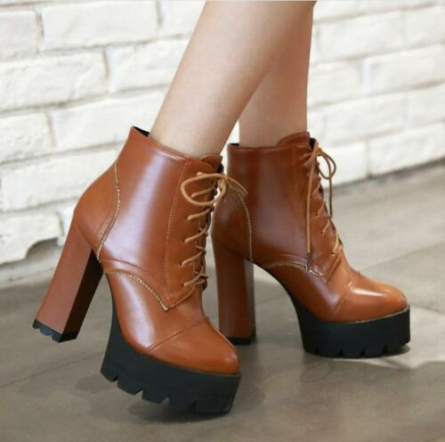 Women/'s Chunky High Heel Ankle Boots Lace Up Platform PU Leather Round Toe Shoes