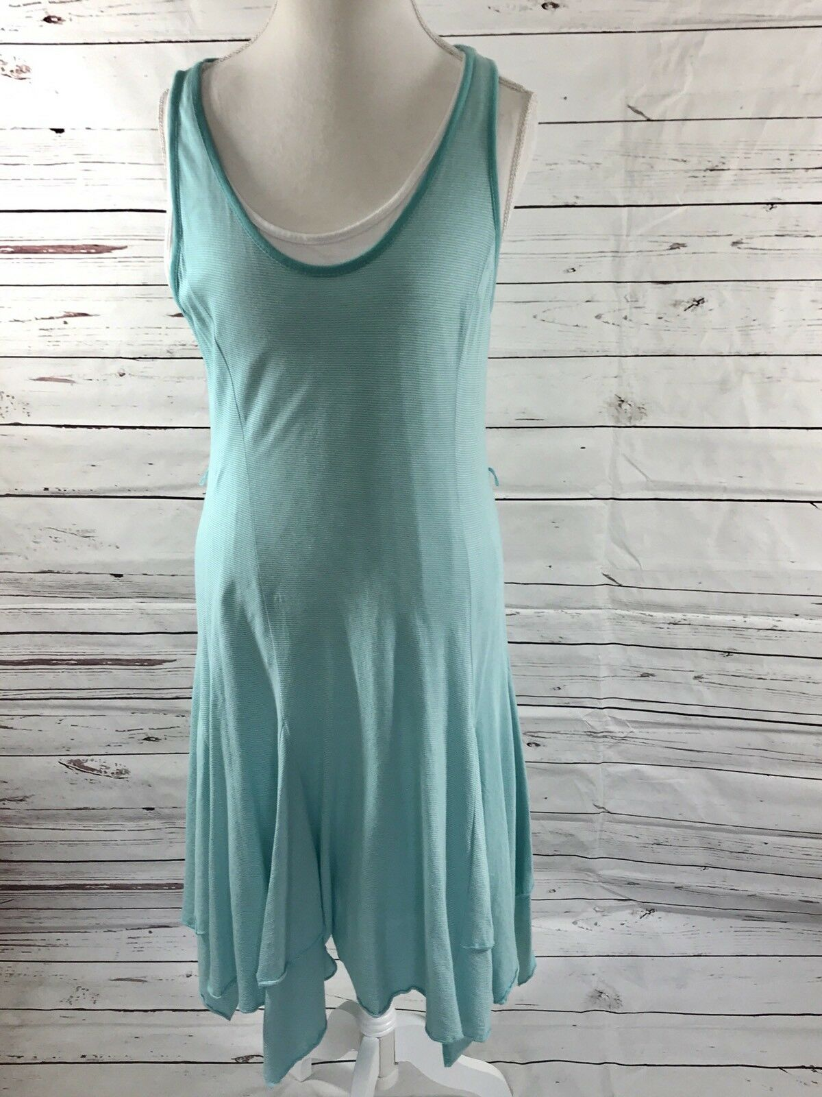 Ralph Lauren Jeans Company Co Womens Dress bluee Aqua Stripes casual Size  L