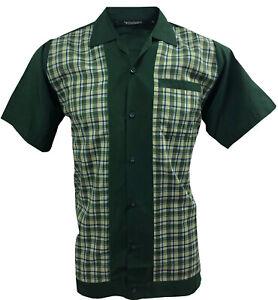 Rockabilly-Fashions-Men-039-s-Shirt-Retro-Vintage-Bowling-1950-1960-Green-White