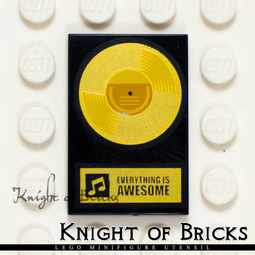 LEGO Minifigure BLACK Gold Record /'Everything Is Awesome/' Tile 2x3 Decoration