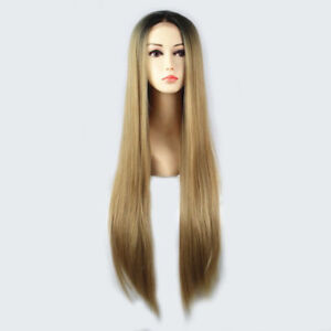 Black-OMBRE-BROWN-BLONDE-STRAIGHT-HAIR-frontal-lace-Women-Lace-Front-wig-Wigs