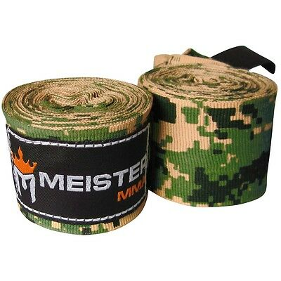 """ARMY CAMO 180"""" HAND WRAPS - MEISTER MMA Elastic Mexican Boxing Gloves Wrist PAIR"""