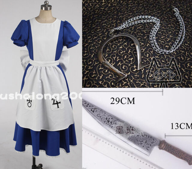 Alice Madness Returns Cosplay costume Kostüm full set mit kette und messer
