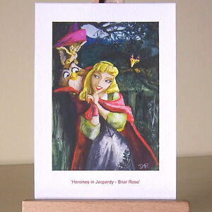 Gothic-painting-style-Sleeping-Beauty-backdrop-in-WDCC-Princess-drawing-ACEO