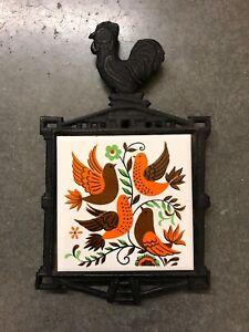 Vintage Cast Iron Rooster Trivet Ceramic Bird Tile Ebay