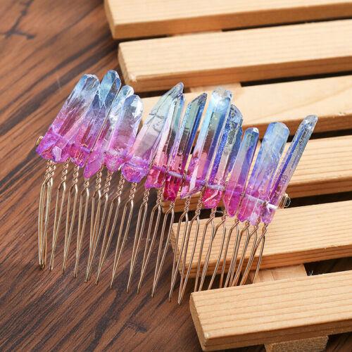 Bridal Raw Quartz Crystal Hair Comb Wedding Hair Accessories Hair band