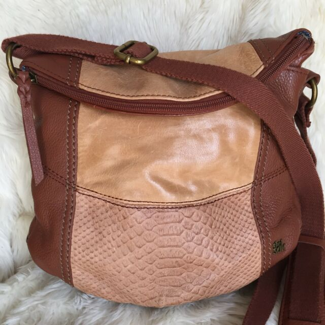 95bcad8ecdc5 THE SAK Deena Brown Leather Flap Over Crossbody Hobo Handbag  350