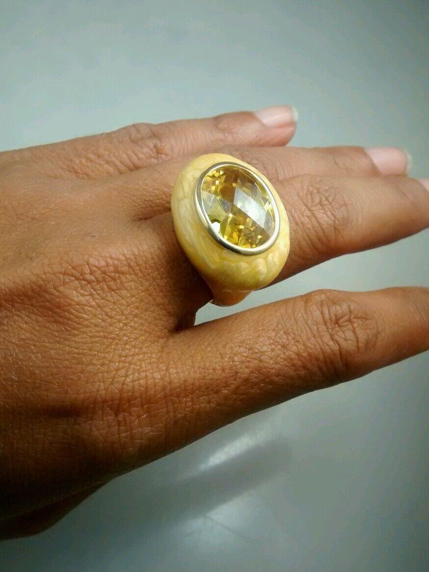 Pretty runway statement Lauren Adams yellow enamel stone ring size 7