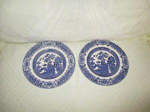 Blue-Willow-EIT-Stoneware-2-Bread-Dessert-Plates-7-034-made-in-England
