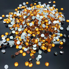 8mm 200pcs Orange  Facets Resin Rhinestone Gems Flat Back Crystal Beads