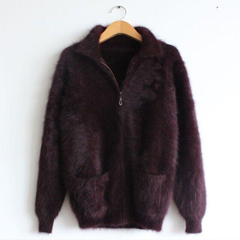 Mens Zipper Lapel Cardigan Warm Jacket Coats M-3XL Real Mink Cashmere Sweater