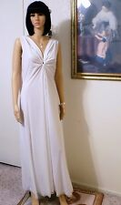 LUCIE ANN Soft Nylon vintage KEYHOLE Grecian Nightgown PURE WHITE size L large