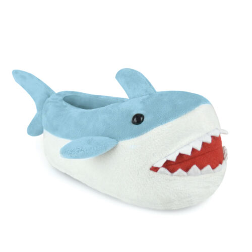 KIDS UNISEX PLUSH NOVELTY 3D SHARK SLIPPERS BLUE XMAS GIFT UK 9-3 NEW