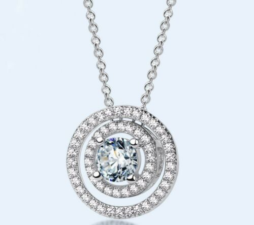 925 Sterling Silver Round Cubic Zirconia Halo Pendant Necklace Chain Gift Box A6