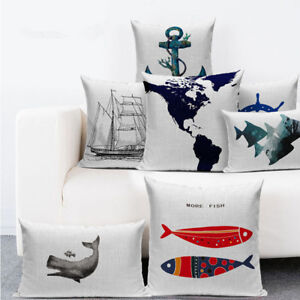 Nordic Nautical Anchor Sailor Sailing Map Cushion pillow case Cushion Cover