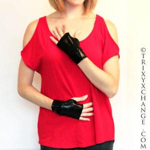 TRIXY XCHANGE Long Black Gloves Long Wet Look Gloves Black PVC Gloves Long Vinyl Gloves Long Black Arm Warmers Long Black Fingerless Gloves