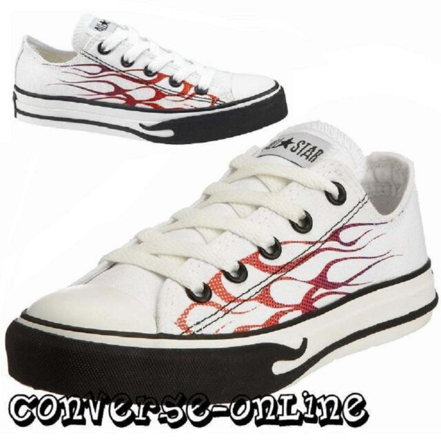 32daf26c1c9a KID Boy Girl CONVERSE All Star WHITE RED BLACK FLAME OX Trainers Shoe SIZE  UK 12