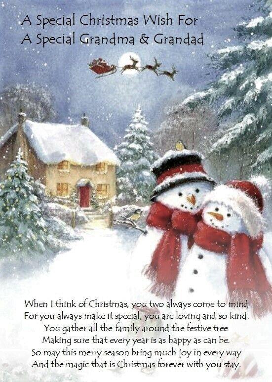 Deseo de Navidad para Abuela y Abuelo A5 tarjeta de Navidad versos significativo