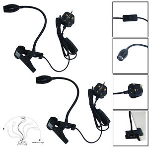 2x-LED-Flexible-Neck-Clip-on-Desk-Lamp-Reading-Table-Light-Clamp-UK-MAINS-PLUG