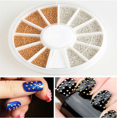 Bulk 1200pcs Gold Silver Nail Art 3D Design Decoration Sticker Metallic Studs LS