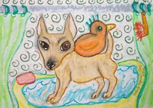 CHIHUAHUA-Takes-a-bath-II-Collectible-Dog-Art-Print-Signed-by-artist-8x10-KSAMS
