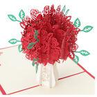 3D Rose Greeting Card Pop Up Paper Cut Postcard Birthday Wedding Valentines Gift