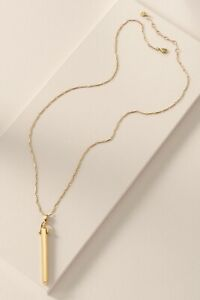 STELLA-AND-DOT-Rebel-Pendant-Necklace-Long-Chain-Gold-Tone