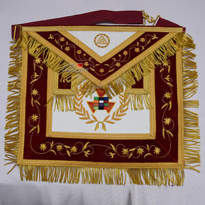 Masonic-Hand-Embroidery-Royal-Arch-Past-PHP-High-Priest-Apron-Red-with-Gold-WLC