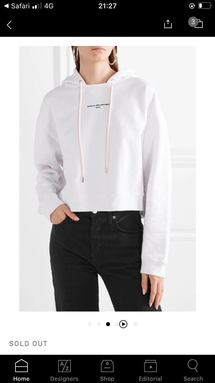 Stella Mccartney White Hoodie Top Sweatshirt Sweater 36 XS S