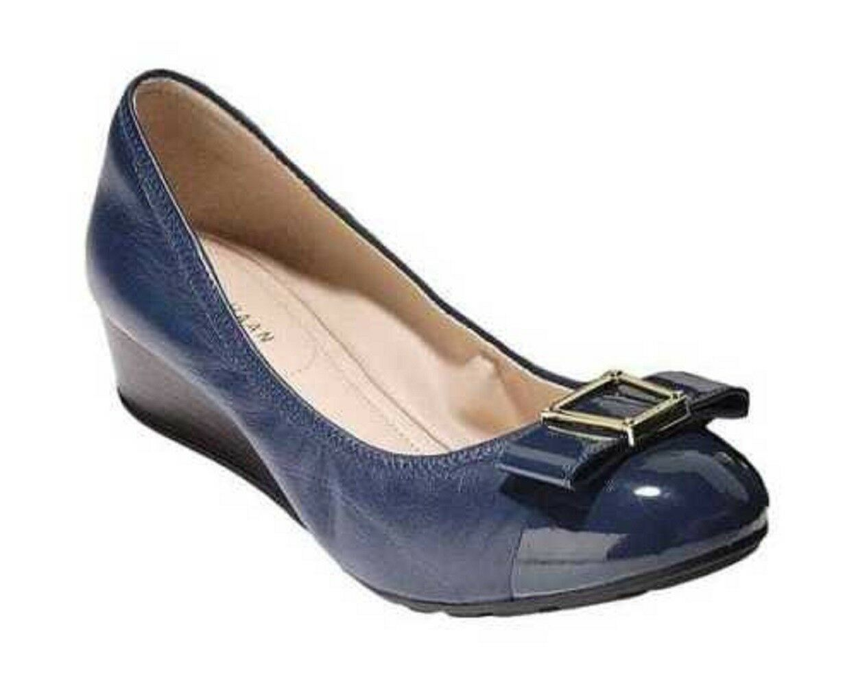 Cole Haan Womens Emory Bow Leather Wedge Dress shoes Marine bluee 7 NEW IN BOX