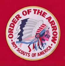 WHITE Twill OA Indian Head Jacket Back Patch Order Arrow 6 Inch GOLD Border