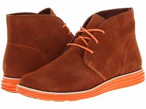 Womens Boots Cole Haan Lunargrand Chukka Sequoia Suede/Corporate Orange