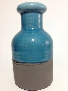 Blue Ceramic Milk Bottle Shape Table Vase Mantle