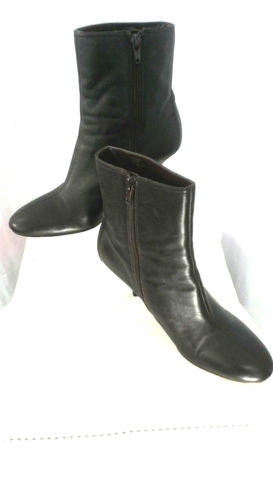 OSCAR DE LA RENTA Women 7.5M Dark Brown Leather Leather Leather High Heel Ankle Boots 9b322d