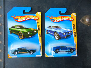 HOT WHEELS SET OF 2 1967 FORD SHELBY GT500 MUSTANG #1 METALLIC GREEN & BLUE 2010