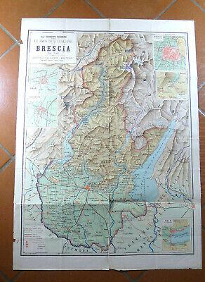 Cartina Geografica Della Provincia Di Mantova.Antica Mappa Scuola Vintage Cartina Provincia Brescia Vallardi Geografia Design Ebay