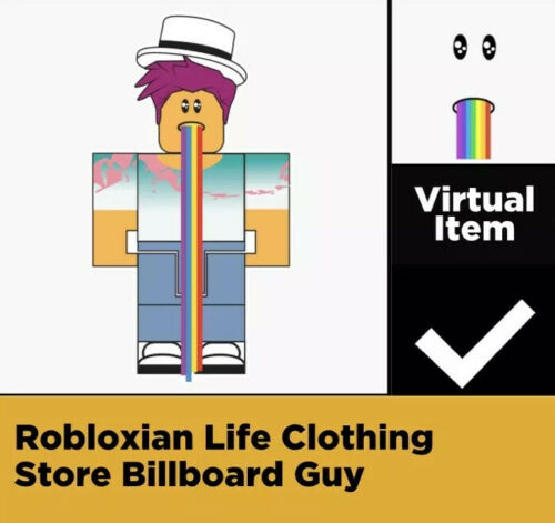 Billboard Guy ROBLOX Virtual Game Code Only Celebrity Series 2 Rainbow Barf Face