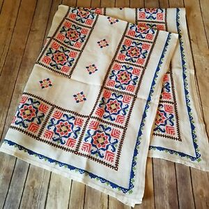 Tablecloth-Vtg-Cross-Stitch-Needlework-Floral-Blue-Coral-Beautiful-Handmade