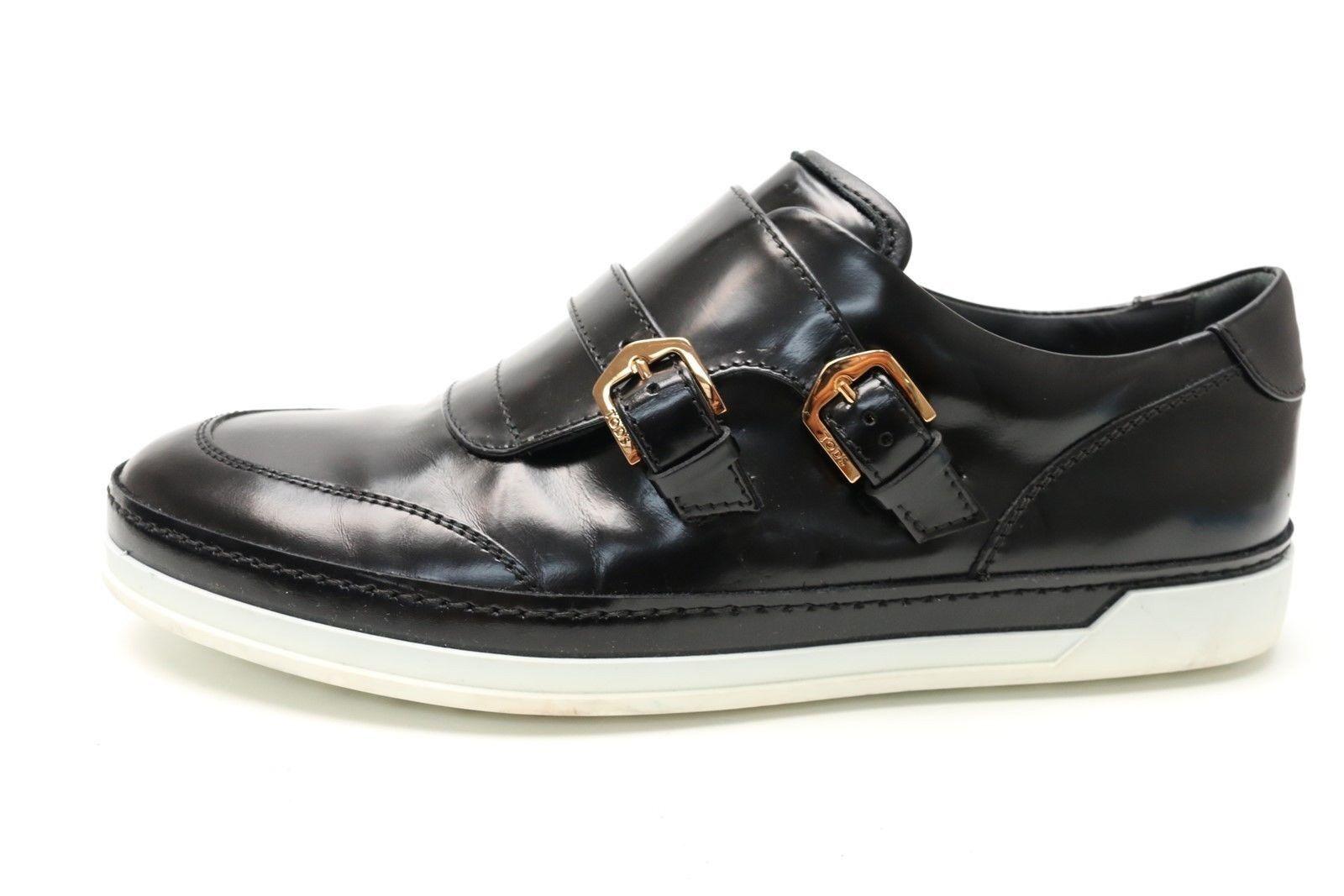 Womens TODS black leather double monkstrap fashion sneakers sz. 8.5  450