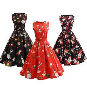 Women-039-s-Christmas-Long-Sleeve-Mini-Dress-Santa-Xmas-Party-Sleeveless-Round-Neck