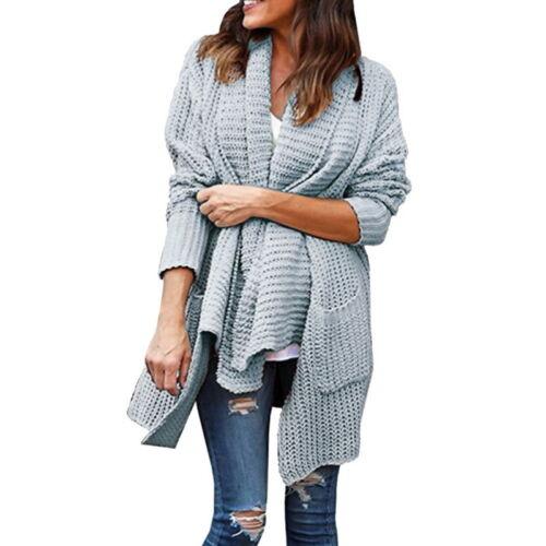 Winter Women Oversize Knitted Cardigan Sweater Poncho Shawl Coat Jacket Outwear
