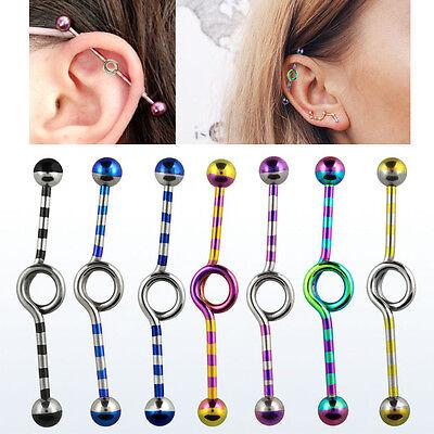 "1 Single Industrial Single Circle 14g Barbell 1.5/"" Inch Ear Piercing 5mm Ball NR"